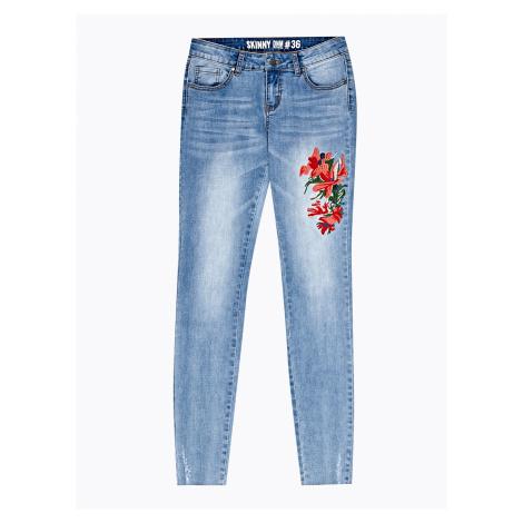 GATE Džínsy skinny s kvetinovou výšivkou
