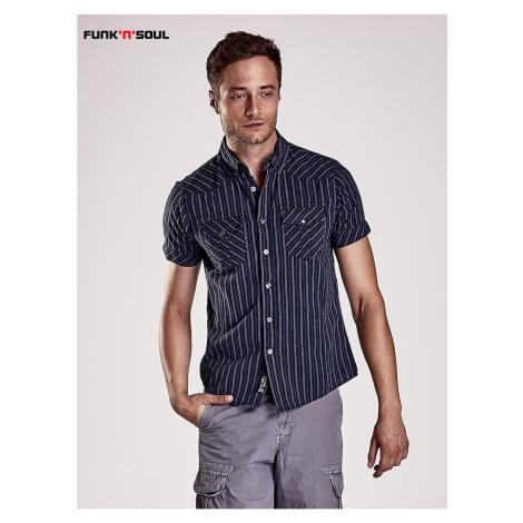 Dark blue men´s shirt with fine stripes Funk n Soul