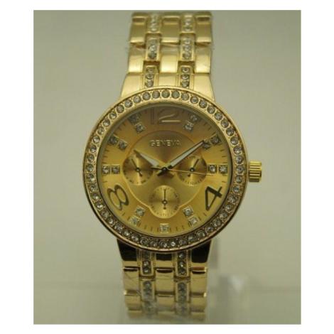 Dámske hodinky Diamond s vykladaným náramkom - zlaté