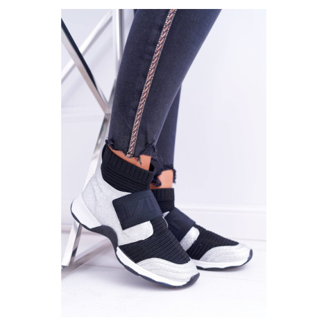 Women's Sport Shoes Lu Boo With a Sock Brocade Silver Phantom