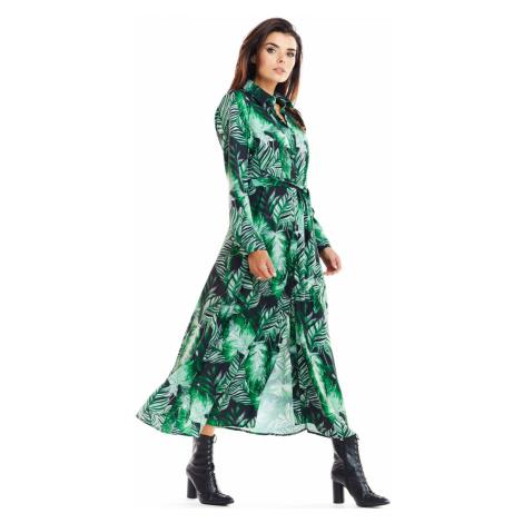 Zelené vzorované šaty A324 Awama
