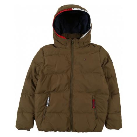 TOMMY HILFIGER Zimná bunda 'ESSENTIAL'  olivová / biela / červená / tmavohnedá