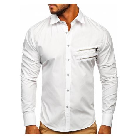 Biela pánska elegantná košeľa s dlhými rukávmi Bolf 20703