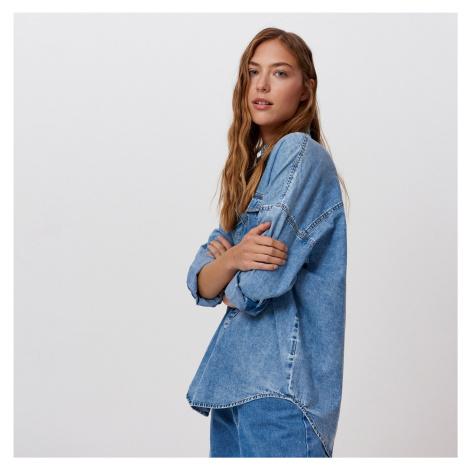 Cropp - Oversize džínsová košeľa - Modrá