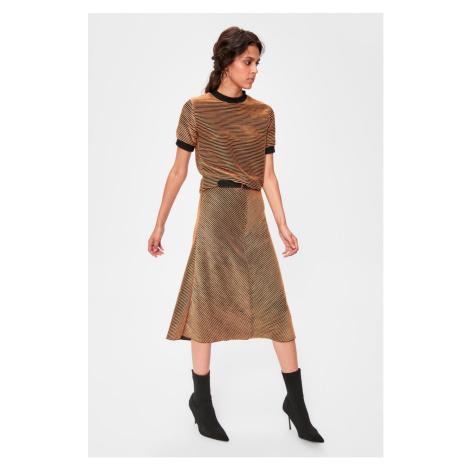 Trendyol Cinnamon Striped Knitted Skirt Cinnamon