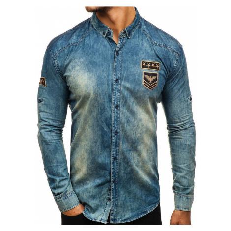 Tmavomodro-šedá pánska riflová košeľa s dlhými rukávmi BOLF 0992 MADMEXT