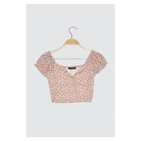 Trendyol Multicolored Floral Patterned Crop Knitted Blouse