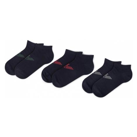 Emporio Armani Súprava 3 párov nízkych členkových ponožiek 300008 9A234 56335 Tmavomodrá