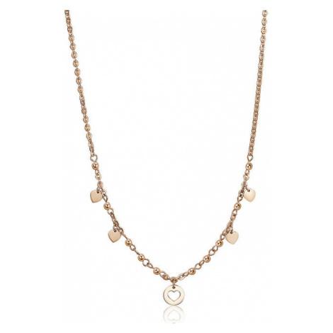 S`Agapõ Pozlátený oceľový náhrdelník so srdiečkami Haiti SHT04 S'Agapõ