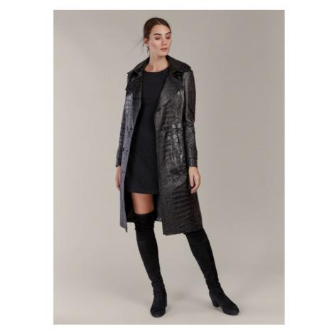 Kožený kabát s efektom krokodílej kože KARA