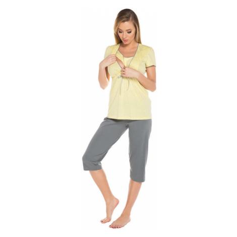 Tehotenské a dojčiace pyžamo Felicita žlté Italian Fashion