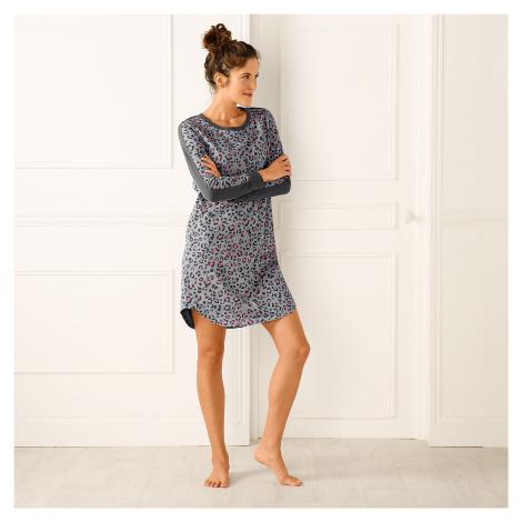 Blancheporte Nočná košeľa s leopardím vzorom sivá