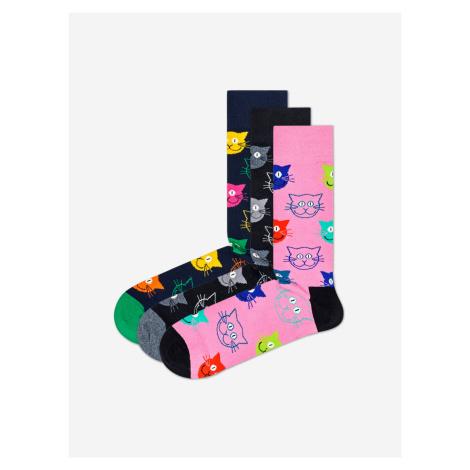 Cat Gift Box Ponožky 3 páry Happy Socks Růžová