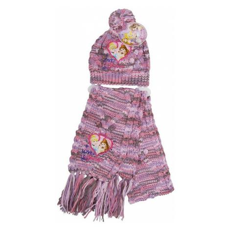 Disney princess ružový pletený set čiapka + šál