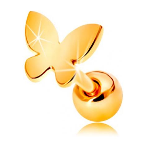 Zlatý 585 piercing do ucha - malý plochý motýlik s lesklým povrchom